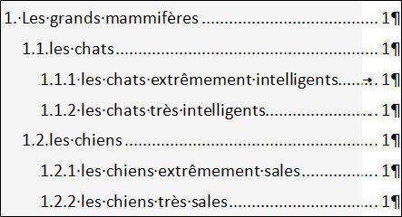 Word Table Des Matières