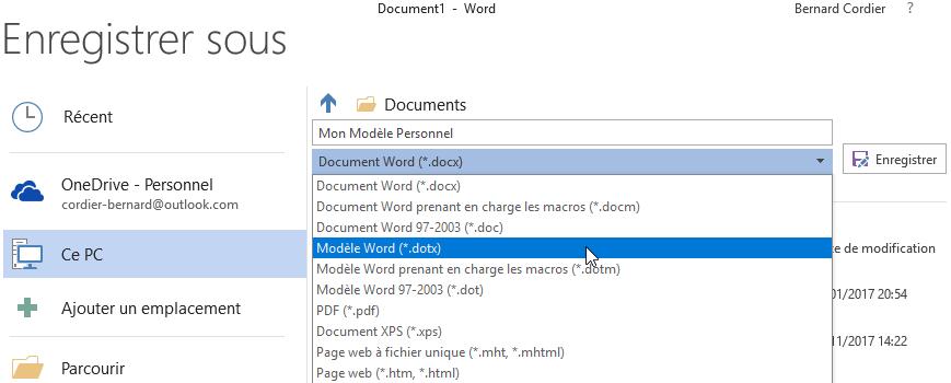 Word Modèles