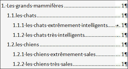 Word Table Des Matieres